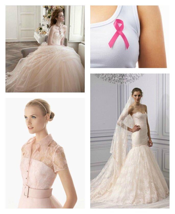 Sì all'abito da sposa rosa nella Giornata Mondiale della lotta contro il cancro! Abiti Atelier Aimèe Montenapoleone 2013, Rosa Clarà 2013, Monique Lhuillier 2013.