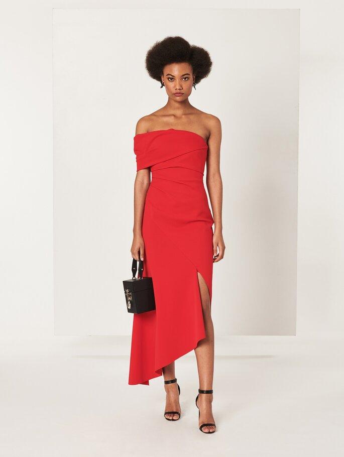 Vestido de fiesta rojo una manga