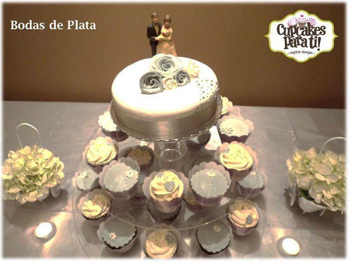 Cupcakes para ti! Torre de cupcakes para bodas de plata