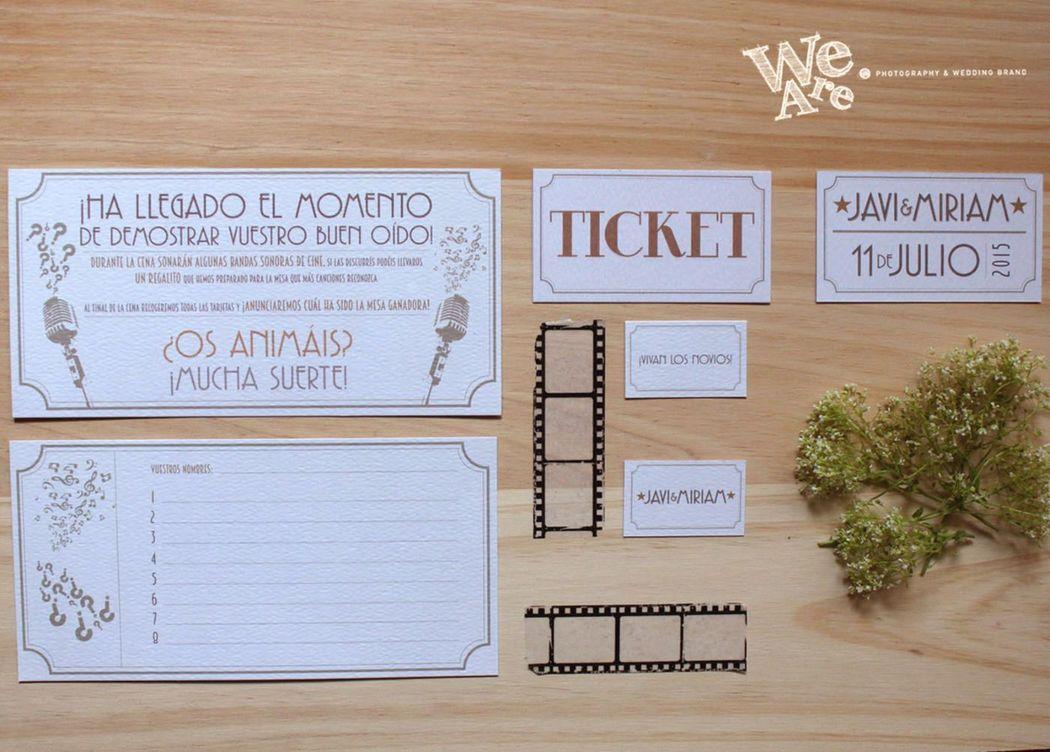 We Are. - juego mesa de boda. Diseño y Producción.