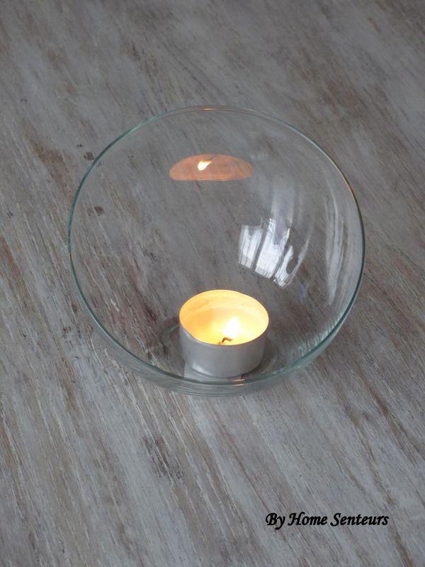 Petite coupe de verre asymétrique pour bougie chauffe-plat ou petite bougie déco (fleur) déco table de Mariage