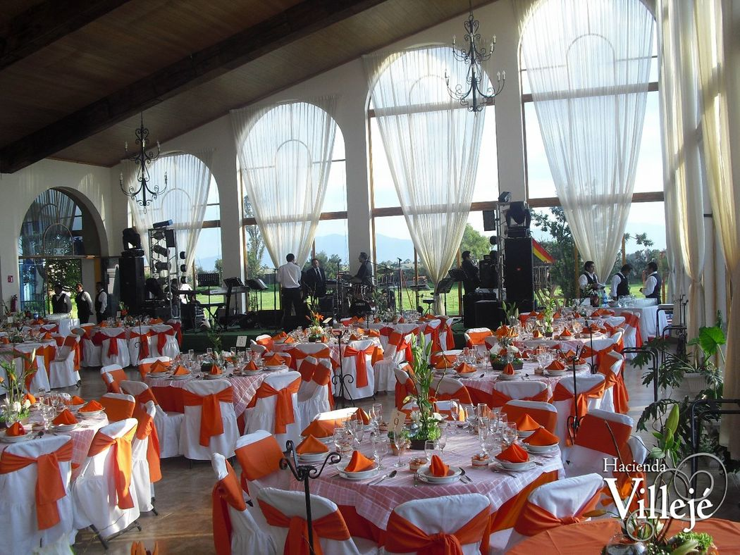 Salón de eventos de la Hacienda Villejé.