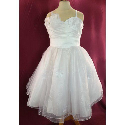 Robe de demoiselle d'honneur fille blanche, tulle, pétales, cérémonie, mariage du 2 ans au 12 ans
