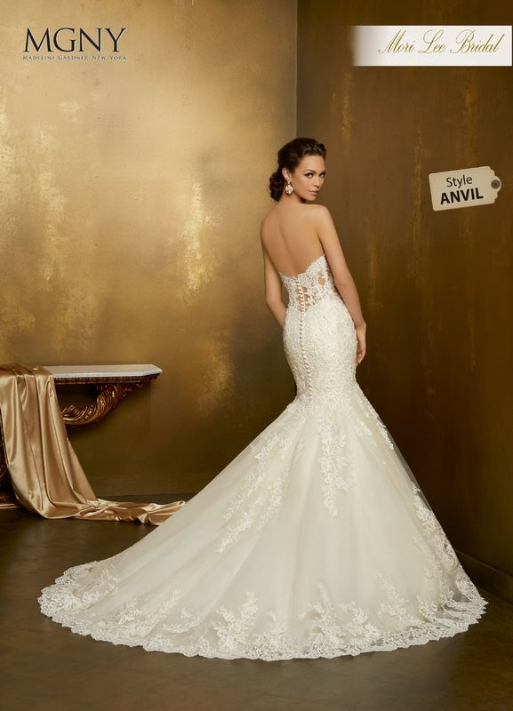 Style ANVIL Oriel  Crystal beaded, re-embroidered appliqués on a tulle mermaid with hemlace