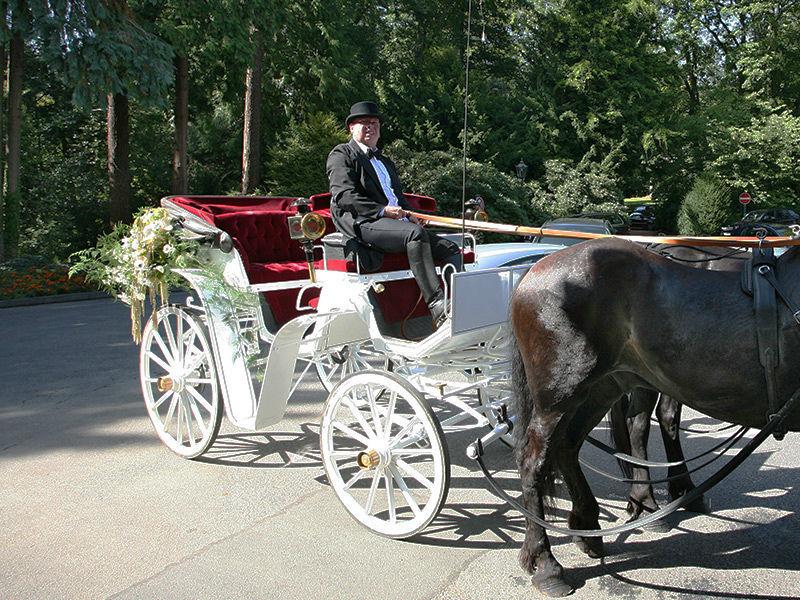 Beispiel: Eine Traumhochzeit mit Kutsche, Foto: Hochzeitskutschen Hessen.