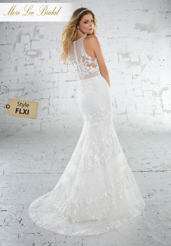 Style FLXI Kristen Wedding Dress  Form Fitting Wedding Dress Featuring Intricate Deco Inspired Beaded Embroidery on Net. Colors Available: White, Ivory, Ivory/Nude