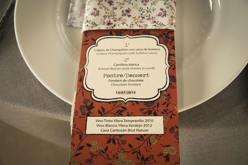 Minutas, diseño del menú de boda Instagram, FB y TW: @naraconnection www.naraconnection.com