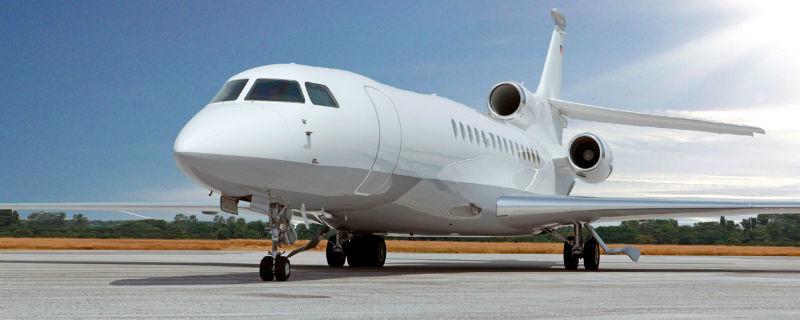 Beispiel: Flugzeug Dassault Falcon, Foto: Edeltour.