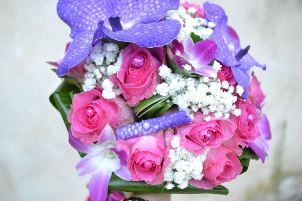 L'atelier de Sellyn bouquet de mariée violet et fuchsia (Aubagne)