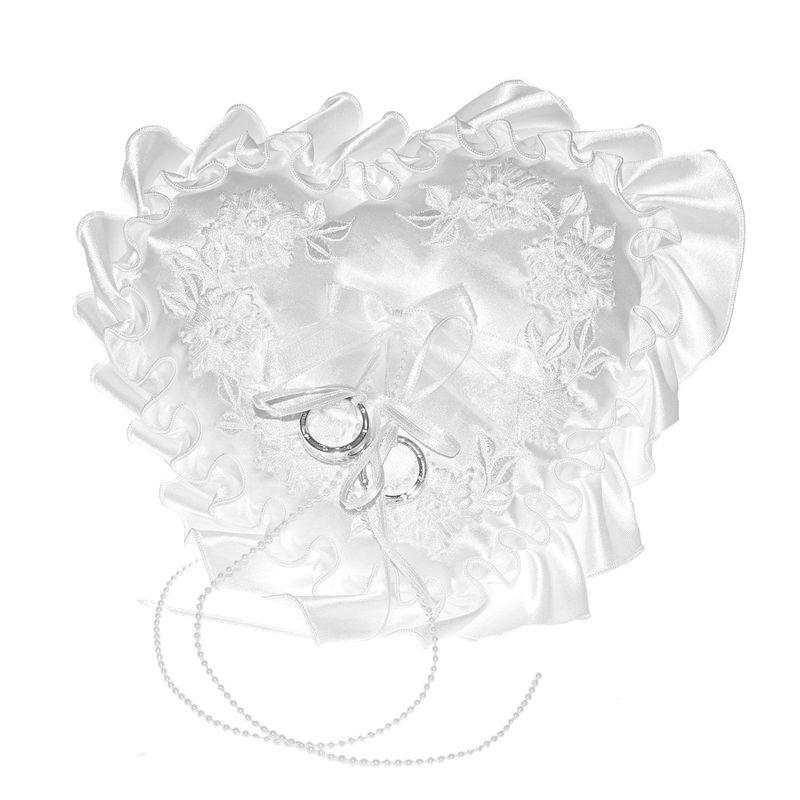 Arya Italian Jewels - Accessori Sposa e matrimonio - Cuscino Portafedi cuore in raso con delicati fiori ricamati e volant