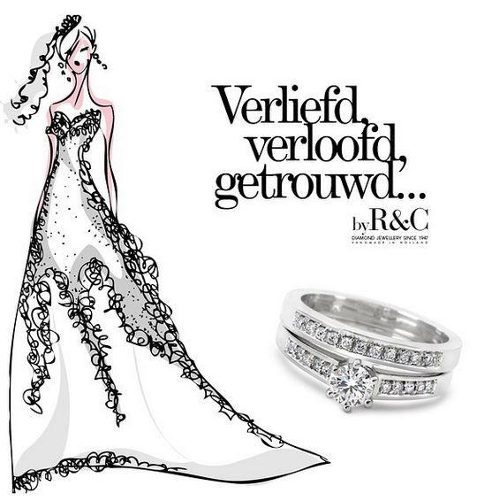 Geen vrouw zegt nee tegen zo een beauty van een ring byR&C, Ringen van witgoud gezet met een perfect geslepen diamant.