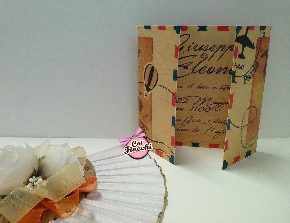 Coi Fiocchi wedding design -  partecipazione di nozze tema viaggio, stile vintage -