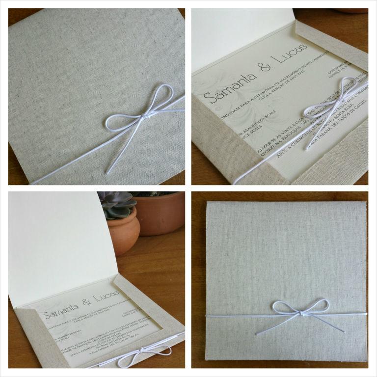 Convite em linho rústico, no modelo de envelope aberto com lapela quadrada, no tamanho 20x20cm feito em papel vergê marfim.