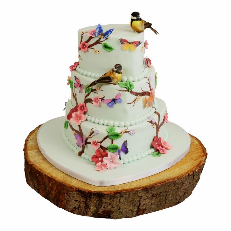 Bruidstaart natuur met vogels en vlinders