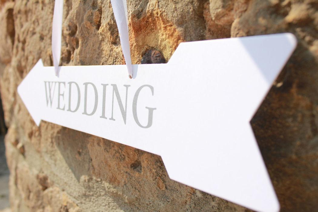 Beispiel: Wedding-Schild, Foto: Hotel Freihof.