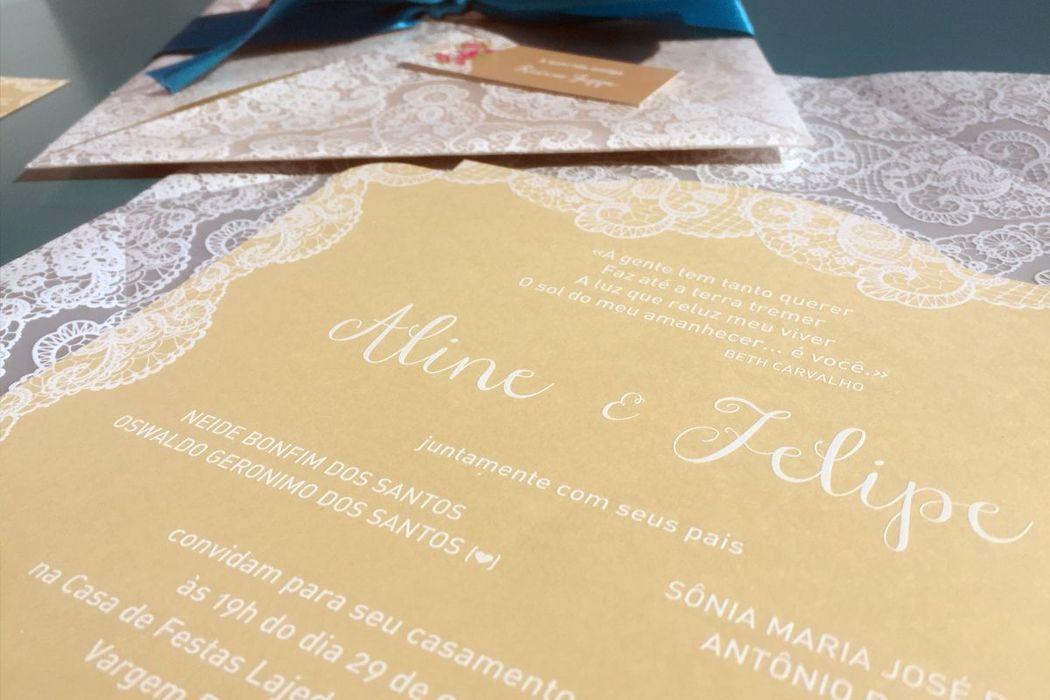 Aline e Felipe - Detalhe do convite