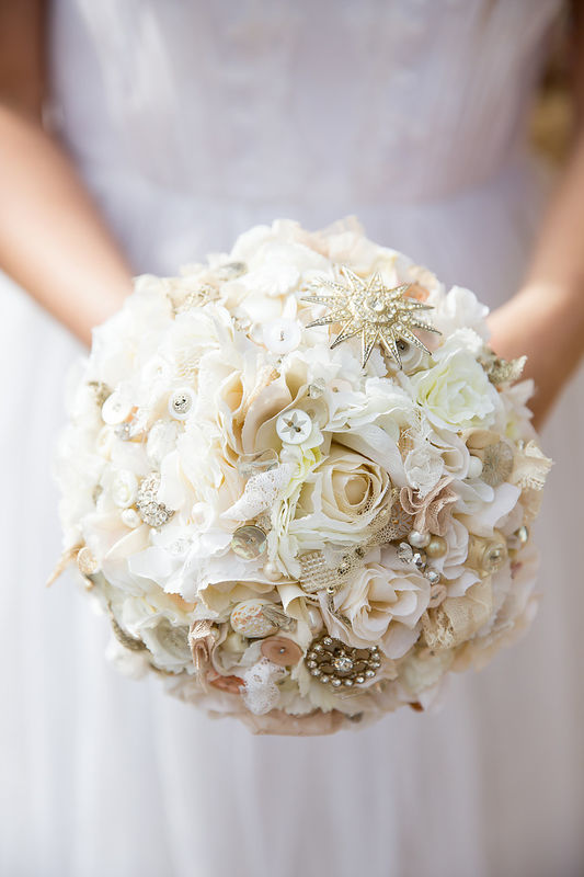 vintage flower and lace bouquet