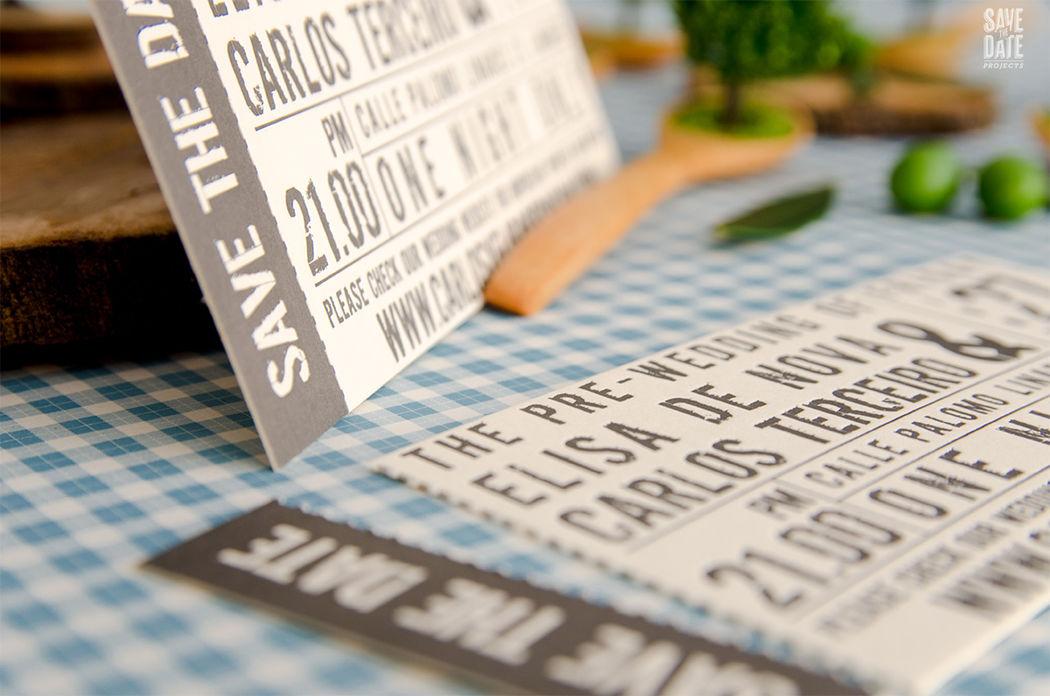 Save the date como entrada de concierto personalizado e impreso en letterpress (impresión con relieve).