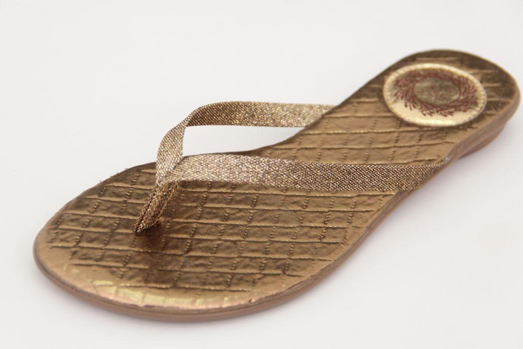 Slim Clean Palmilha Matelassê Ouro Velho com Tira Glitter Ouro Velho