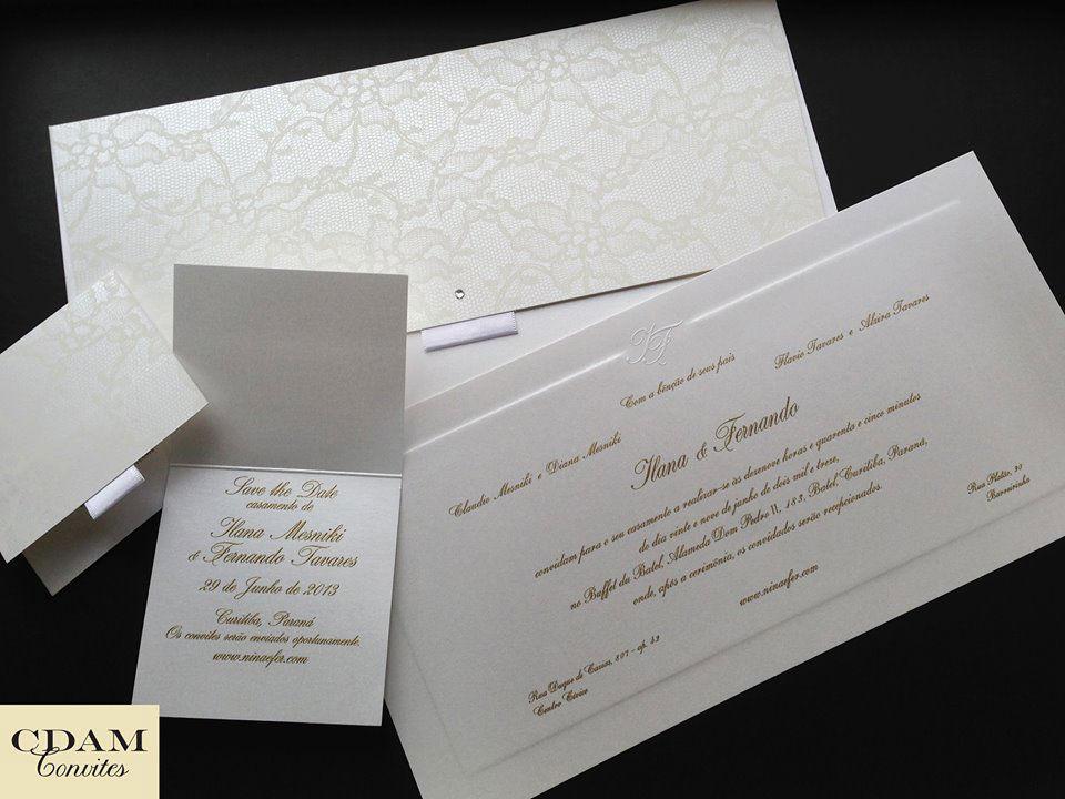CDAM Design - Papelaria do casamento personalizada com renda branca - Convites e Save the Date.