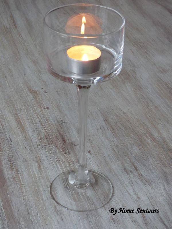 Verre à pied pour bougie chauffe-plat ou bougie déco pour table de Mariage