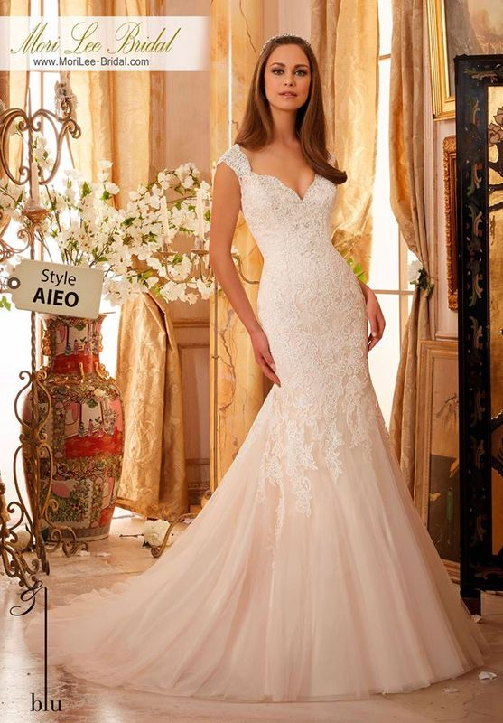 Wedding Gown AIEO  Crystal Beaded, Alencon Lace Appliques on Soft Net  Colors Available: White, Ivory, Ivory/Champagne