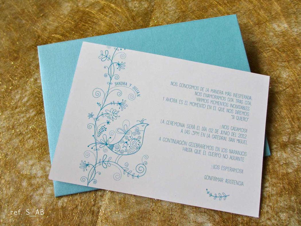 S_AB tarjetas de matrimonio o primera comunión Delicadas y económicas. Sobres de colores