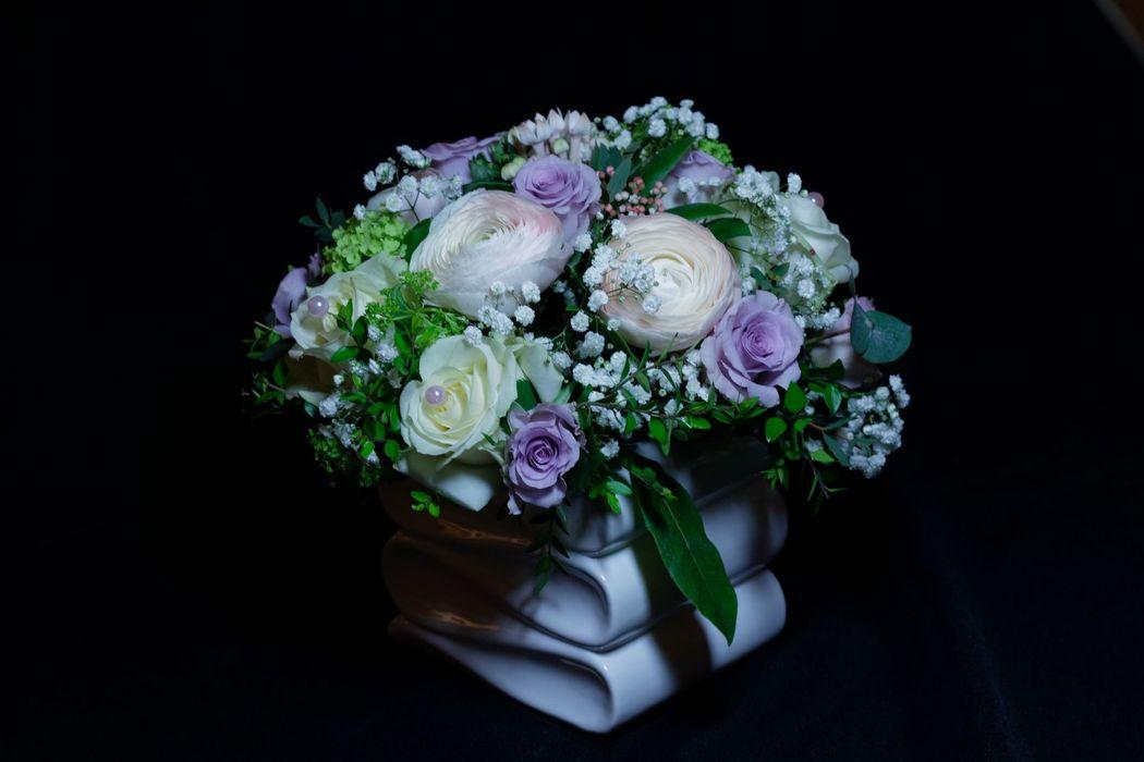 centre de table parme et rose