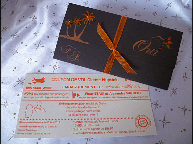 faire part 3 volets horizontal chocolat orange billet avion