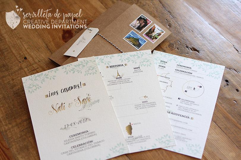 Invitación rustica sellos