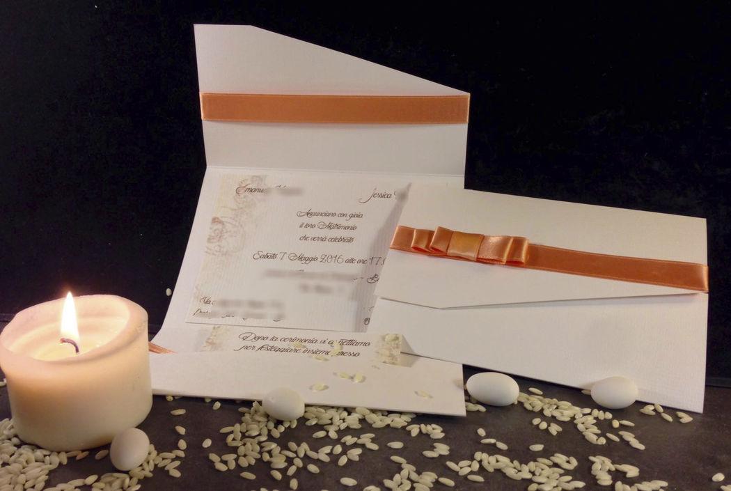 Partecipazione nozze elegante color salmone www.stampaecrea.it