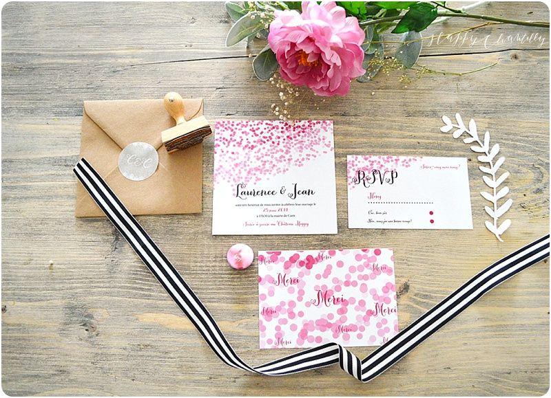 Faire-part mariage confettis Moderne et coloré Happy Chantilly