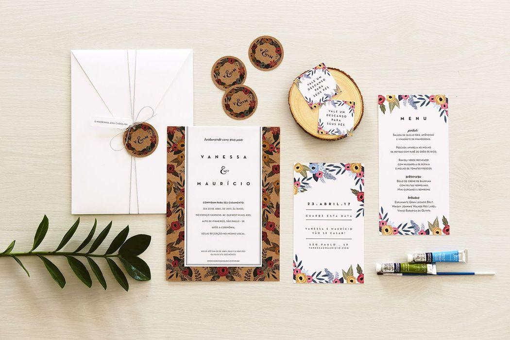 Convite Floral Guache