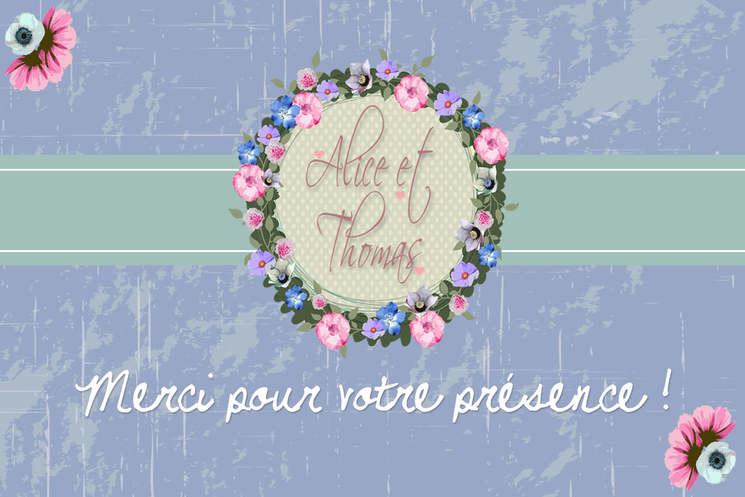 Remerciements thème fleuri et printanier