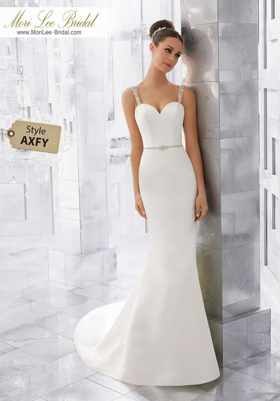 Style AXFY Milena Wedding Dress  Simple and Understated, This Duchess Satin Wedding Dress is Accented with Crystal Beaded Straps and Illusion Back Detail. Removable Diamanté Beaded Belt, Also Sold Separately as Style NXOFX, Completes the Look. Colors Available: White/Silver, Ivory/Silver.