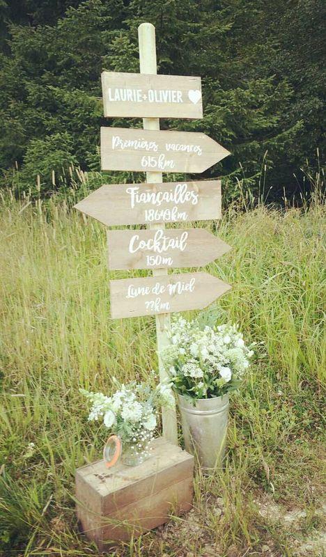 Panneaux en bois et créations florales