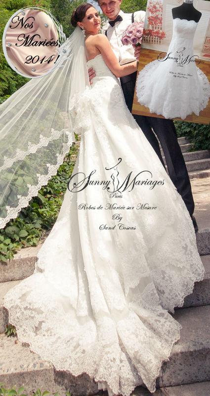 Robe de mariée bustier en dentelle sur mesure