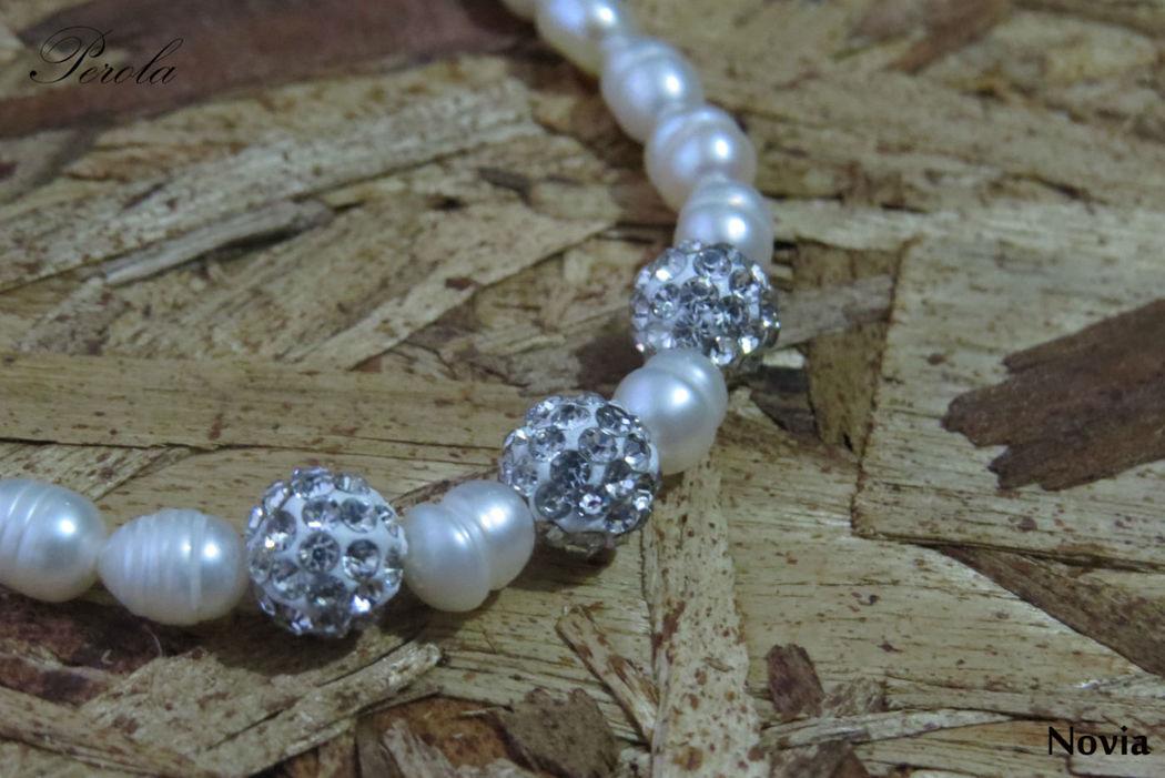 collar novia, perlas y circones