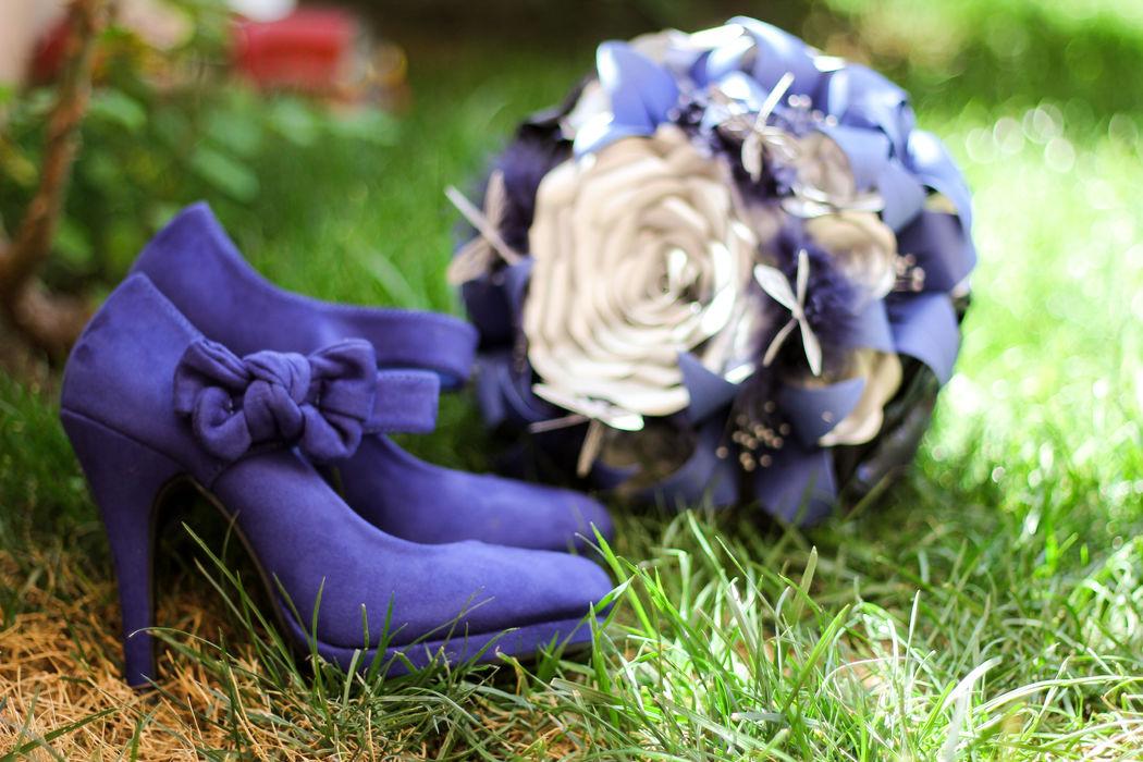 Zapatos de la novia & Ramo de Novia Blue Glam
