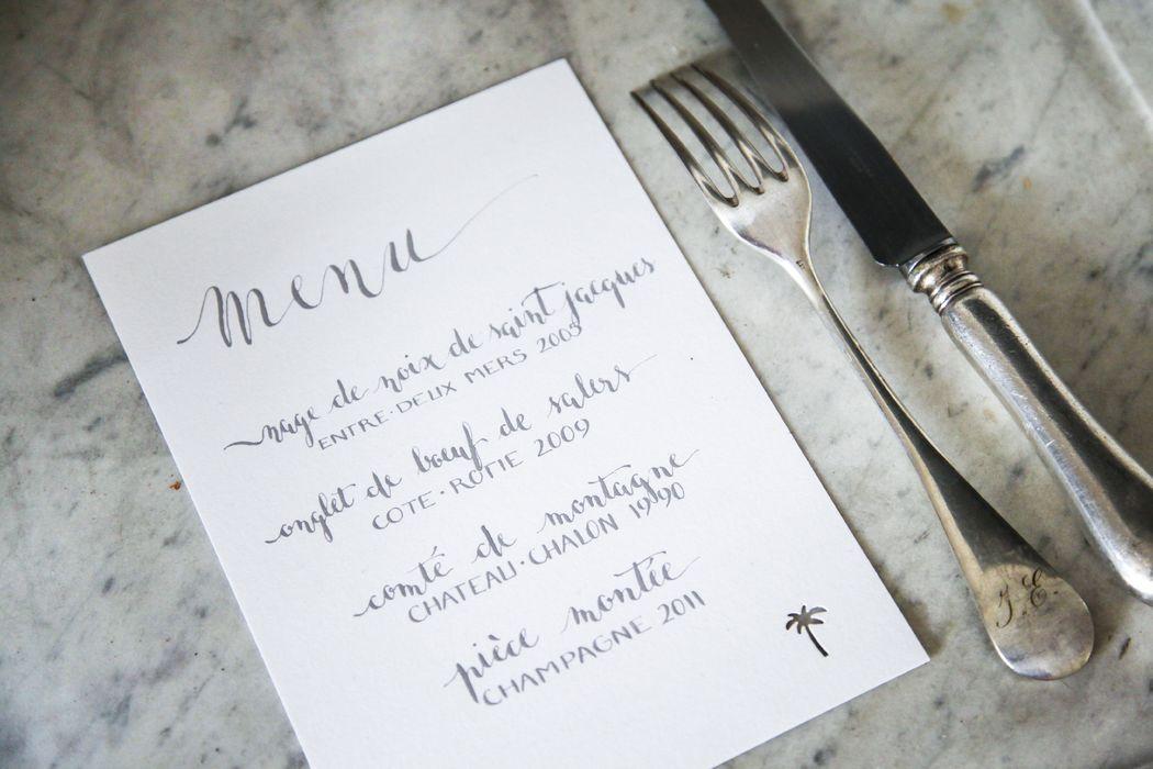 menu calligraphié