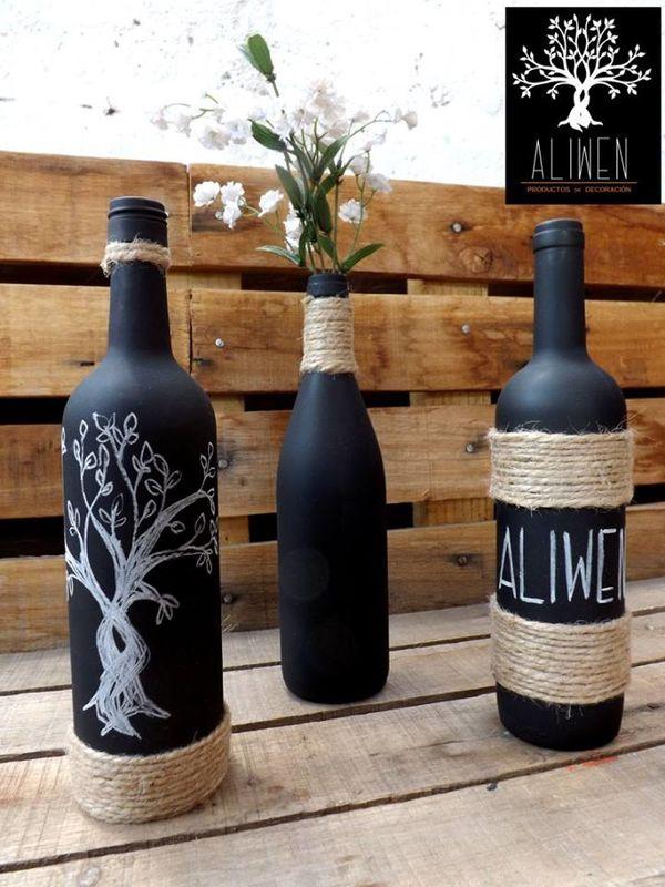 Floreros de botellas de vino recicladas, diseños personalizados. 100% pintadas a mano.