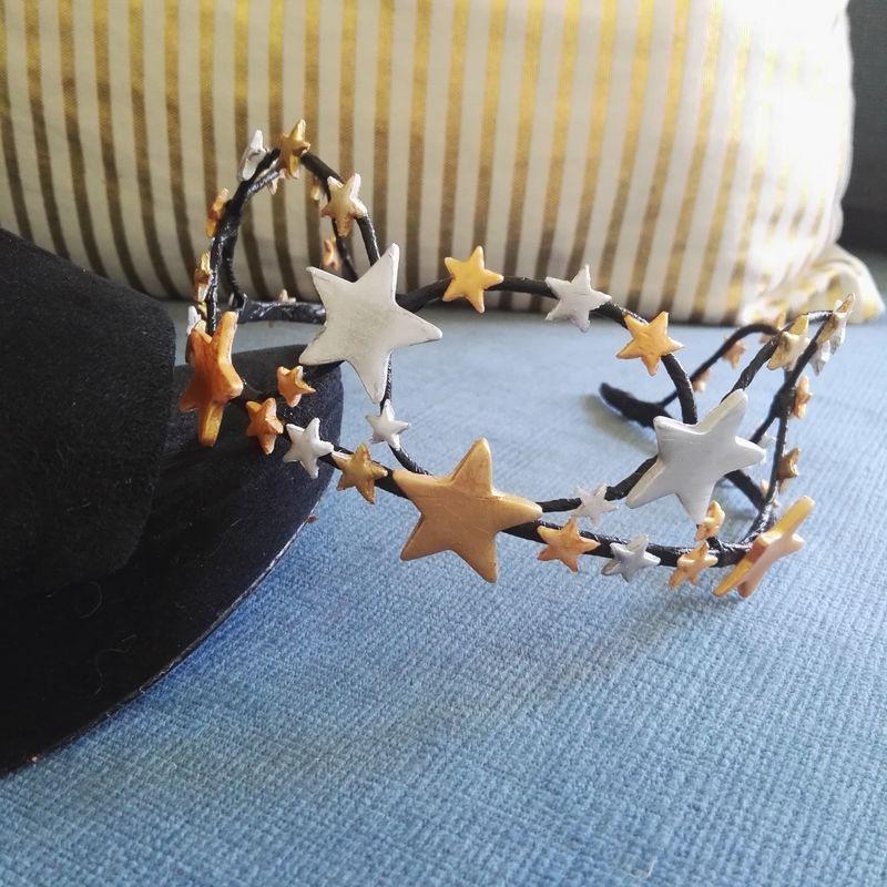 Cintillo estrellas cobre oro y plata