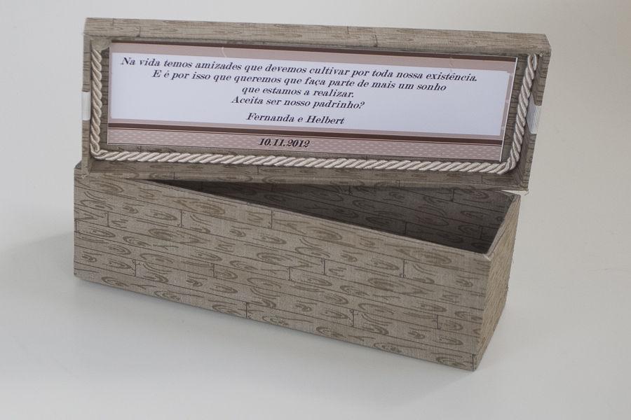 Caixa MDF Forrada em Tecido de Algodão e Convite Interno
