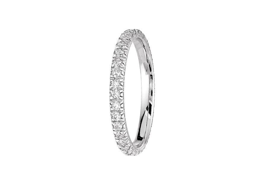 Alliance Setto 2.2 mm - Or blanc palladié & Diamants éthiques du Botswana