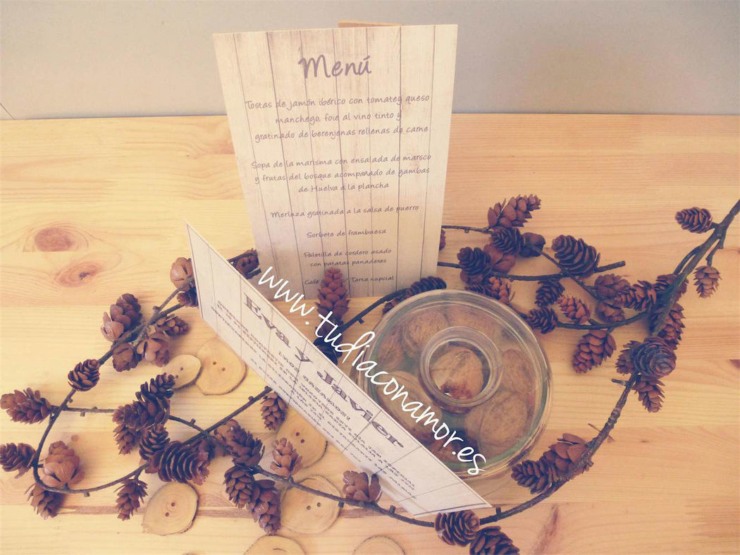 Papelería de boda rústica madera