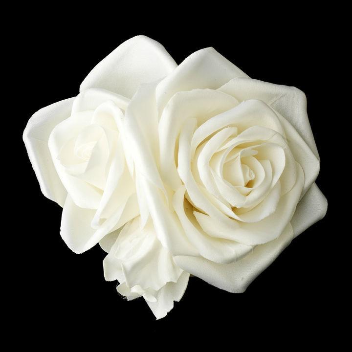 Clip fleurs en soie coiffure de la mariée ivoire ou blanc double rose