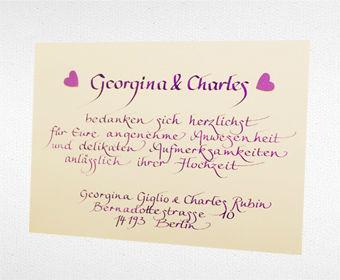 Beispiel: Persönliche Danksagungskarte, Foto: Event Calligraphy.