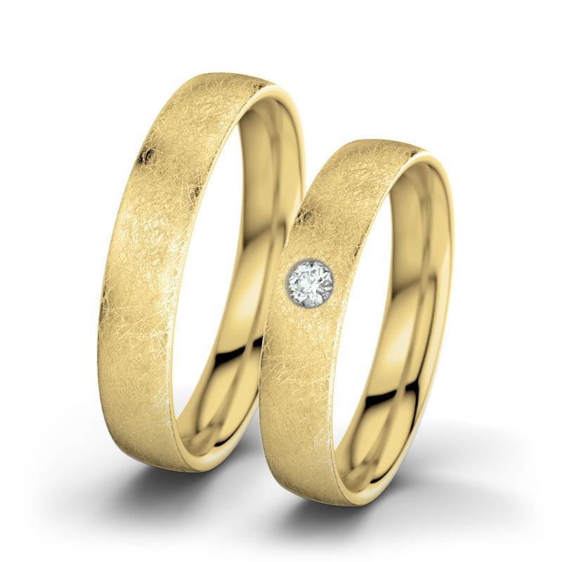 Beispiel: Julia & Romeo - Gelbgold (eismatt) Foto: 21 Diamonds.