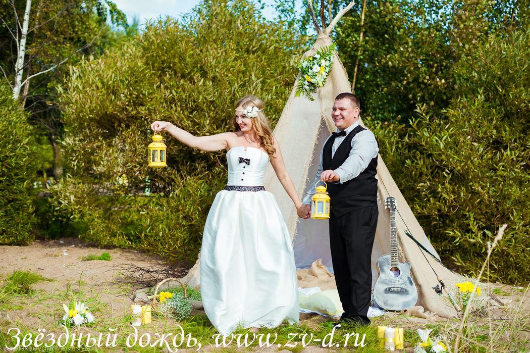 Оформление свадебной фотосессии в стиле рустик