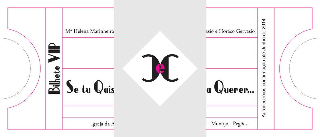 Convite Bilhete de Cinema com cinta com monograma
